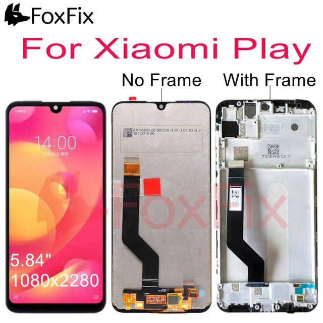 """Original For 5.84"""" Xiaomi Play LCD Display Touch Screen Digitizer Assembly For Xiaomi Mi Play LCD With Frame Replace M1901F9E"""