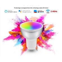 Gu10 5w inteligente wifi lâmpada led controle de voz remoto rgbcw pode ser escurecido led trabalho de luz com alexa google para smart life app