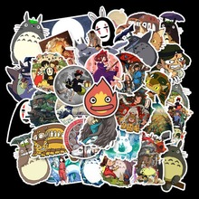 Autocollants de papeterie japonaise mon voisin Totoro mignon, Stickers de Skateboard, pour voiture, ordinateur portable, réfrigérateur, 50 pièces/lot