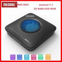 Novo mecool m8s max tv caixa android 7.1 3g ddr3 + 32g rom tv amlogic s912 octa núcleo 2.4g/5g wifi bluetooth/usb inteligente topbox
