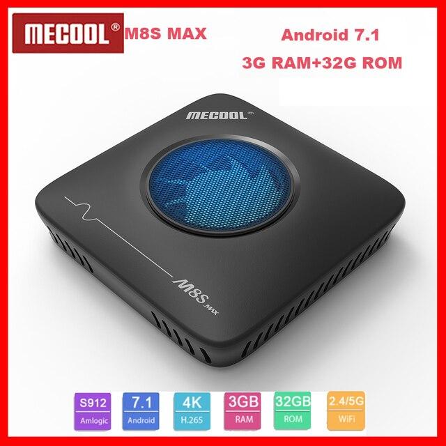 新しいmecool M8S最大テレビボックスアンドロイド 7.1 3 グラムDDR3 + 32 グラムromボックステレビamlogic S912 オクタコア 2.4 グラム/5 グラムwifi bluetooth/usbスマートtopbox
