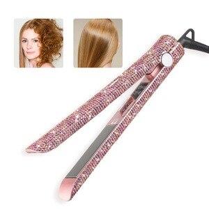 Image 1 - Profissional display lcd de cabelo plana ferro titânio placa flutuante diamante alisador cabelo cristal strass ferramentas estilo do cabelo
