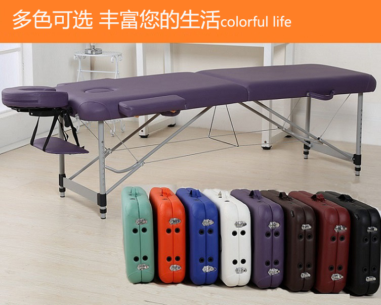 Fast Delivery Aluminium Alloy Foldable Massage Bed Portable Lightweight Therapy Table Memory Foam Padding Leather Cover