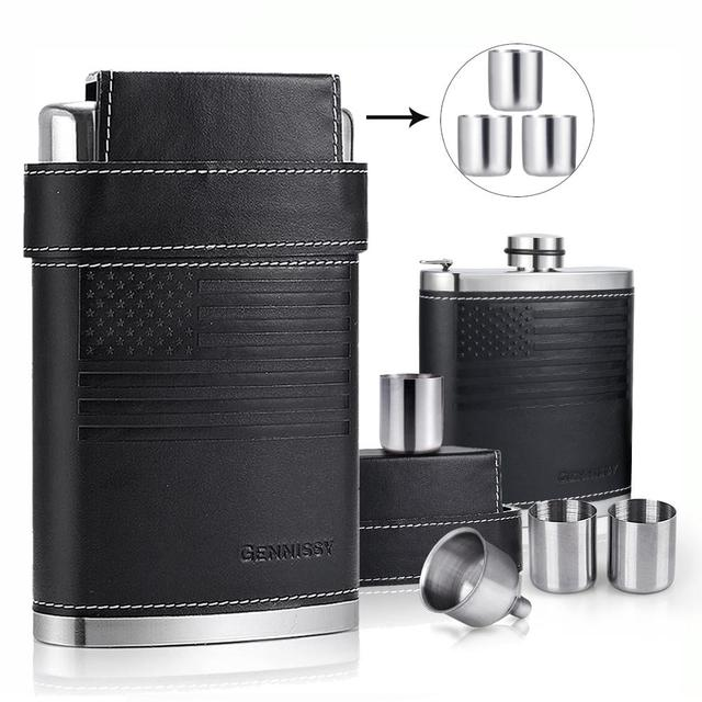 Leather Covered Hip Flask + 3 Stainless Caps 6