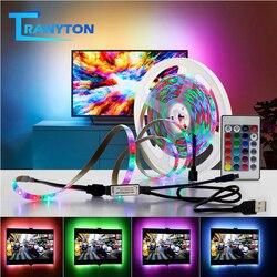 TV RGB ampoules LED 2835 SMD 5V USB lumière Flexible rétro-éclairage 0.5M 1M 2M 3M 4M 5M cuisine placard nuit ruban avec télécommande