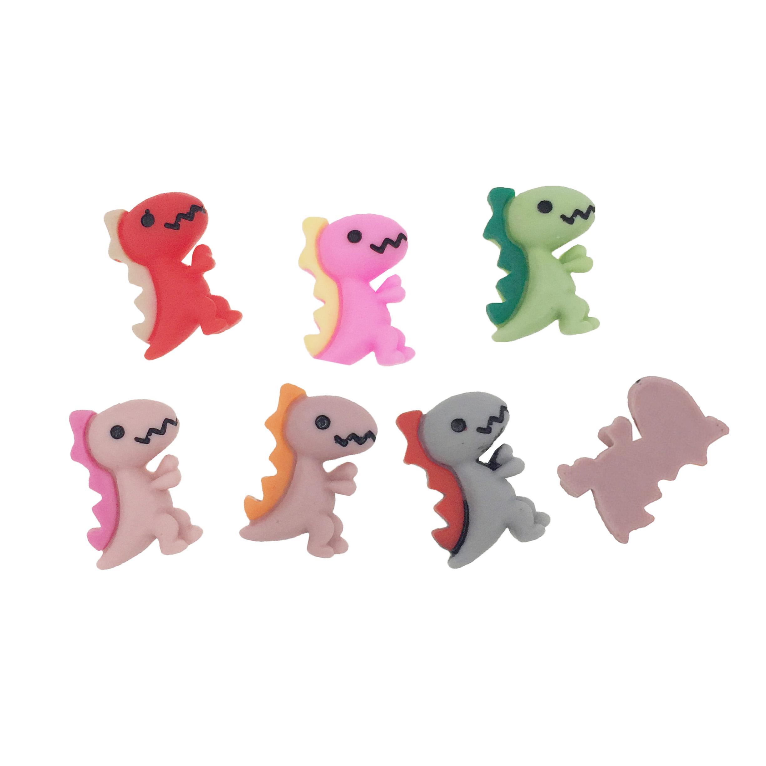 20PCS Resin Lovely Colorful Mini Dinosaur Flatback Cabochon Scrapbooking Hairbow Center Embellishment DIY Phone Accessories
