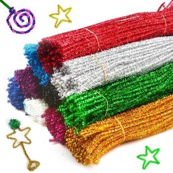 10 50 100 sztuk brokat szenilowe szczypce do czyszczenia rur pluszowe świecidełka wynika przewodowe kije dzieci edukacyjne DIY zapasy rzemieślnicze zabawki rzemiosła tanie i dobre opinie CN (pochodzenie) Tak ( 50 sztuk) 30cmGlitter Chenille Stems Pipe