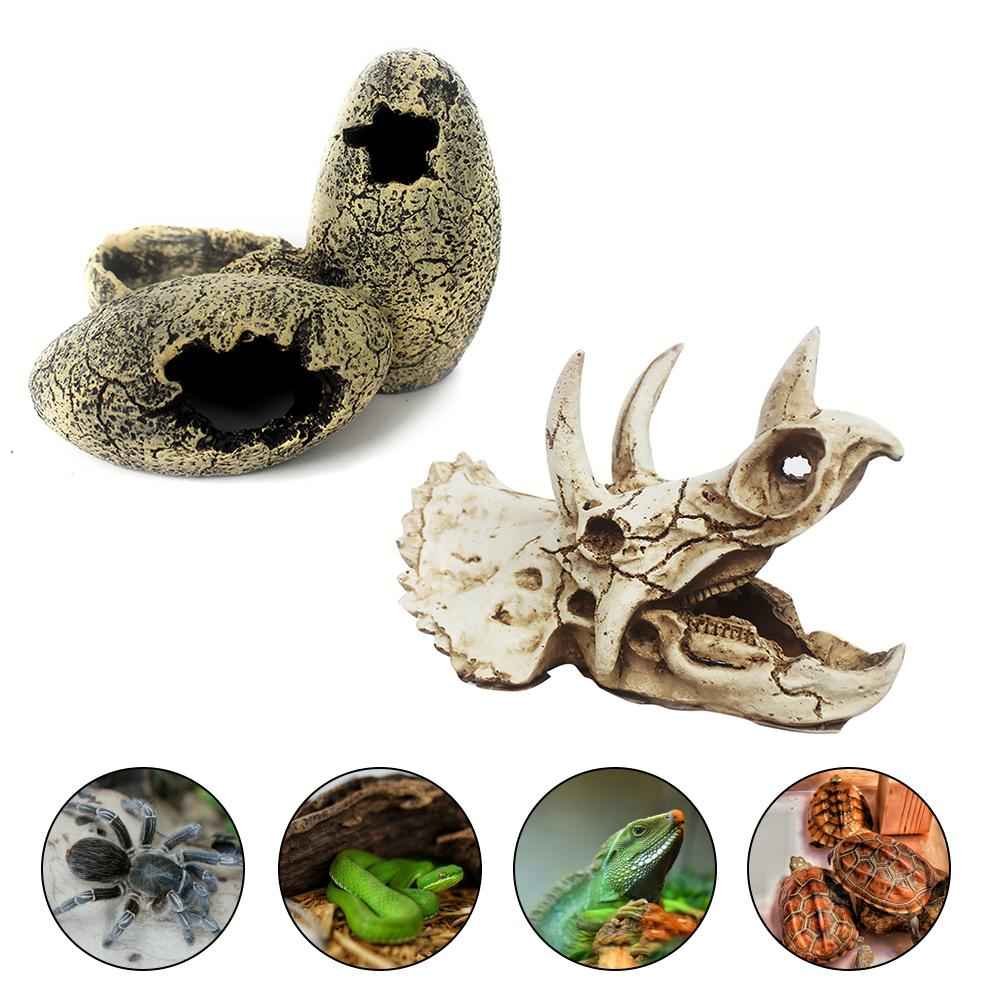 Dinosaur Egg Dinosaur Skull Reptile Evasion House Insect Terrarium Decoration Fossil Aquarium Decor Lizard House Beautification