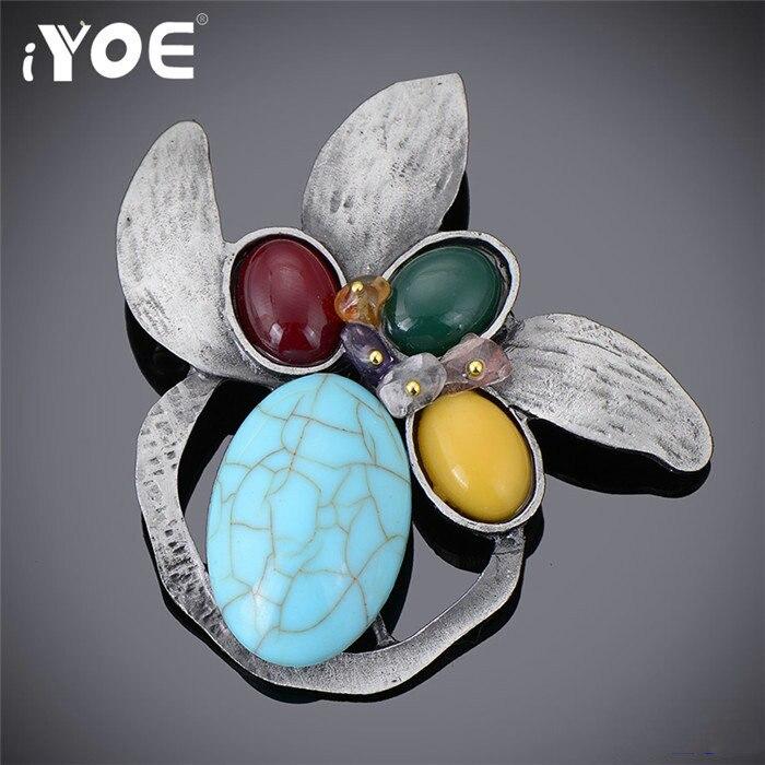 IYOE Многоцветный натуральный камень из бисера, брошь в виде листьев, Женская старинная металлическая Винтажная брошь, булавка, свадебные юве...