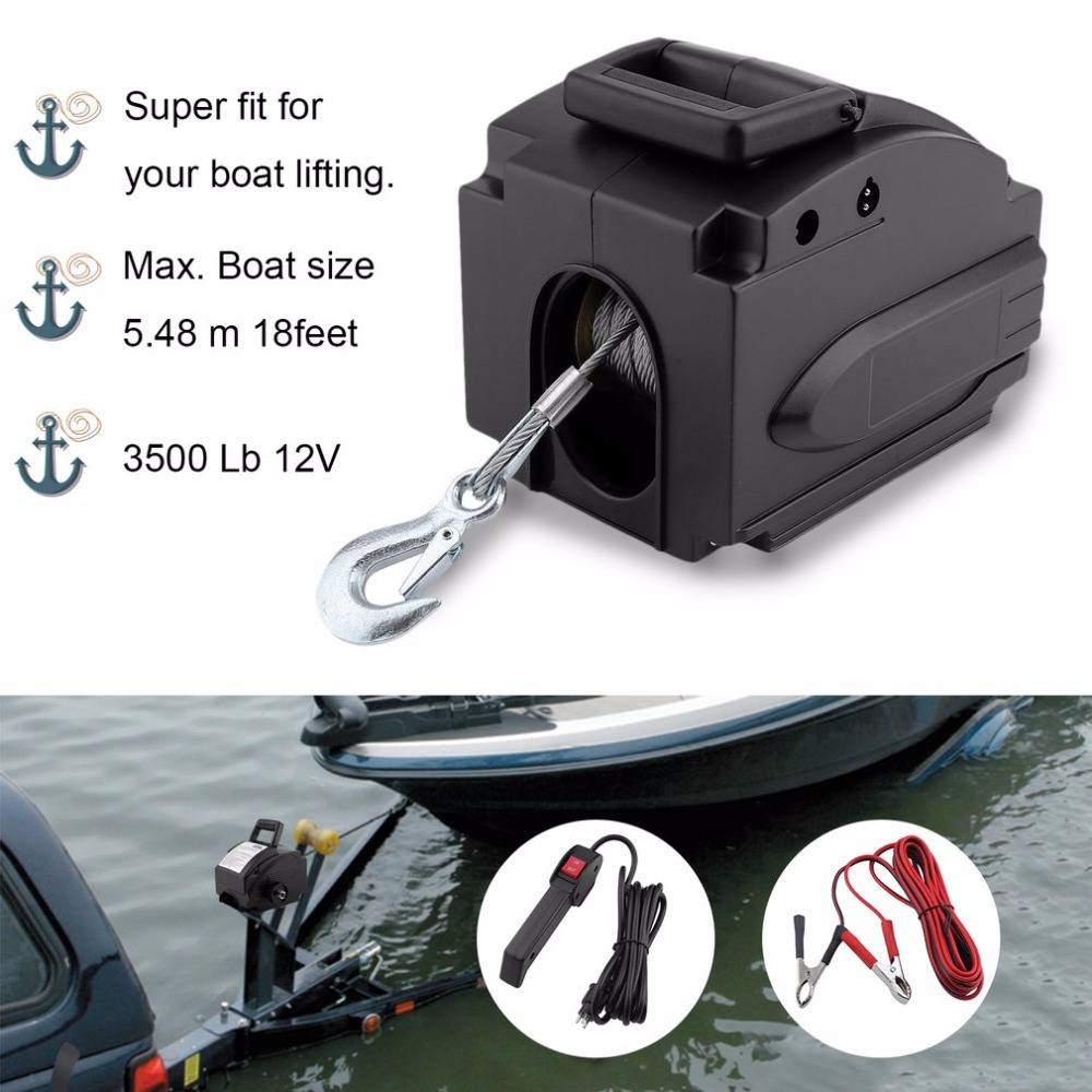 (Ship From FR)Professional 3500 Lb 12V Wire Rope Electric Boat Winch Motor Winch With Remote Control Powerful Accessories