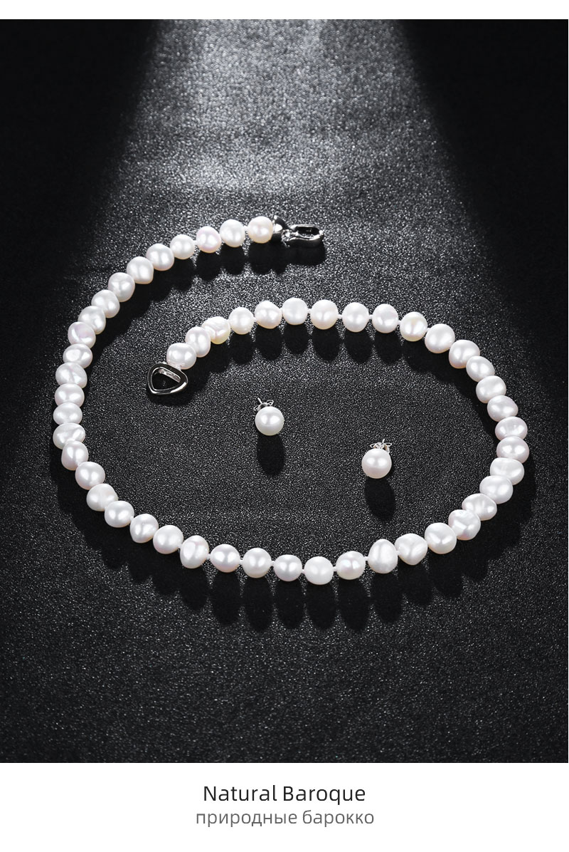H349099b967b24b07b13b20411a8a298bR NYMPH FreshWater Pearl Jewelry Set For Women Natural Baroque White Stone Beads Choker Necklace Earrings Bracelet Party [T207]