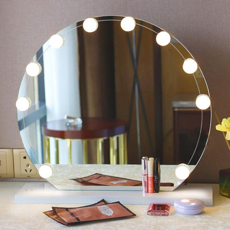 10pcs LED Make Up Mirror Light Bulb Kit Hollywood Vanity Lights Dimmable Cosmetic Dressing Table Lamp Batteries Lighting Strings