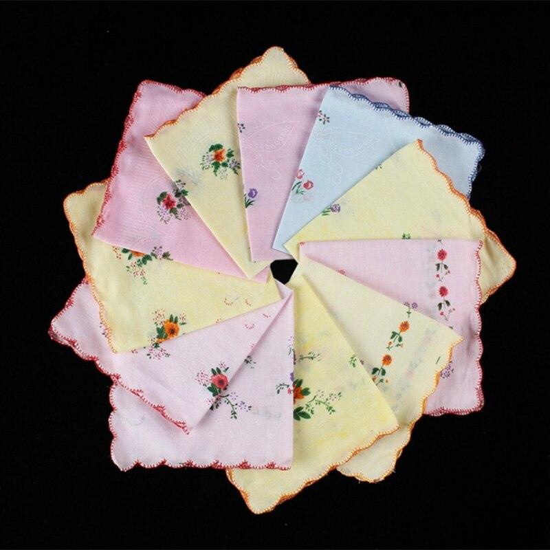 Baumwolle Frauen Taschentücher Bestickte Spitze Blume Hanky Floral Zufällige Farbe Tuch Damen Taschentuch Stoffe 6Pcs