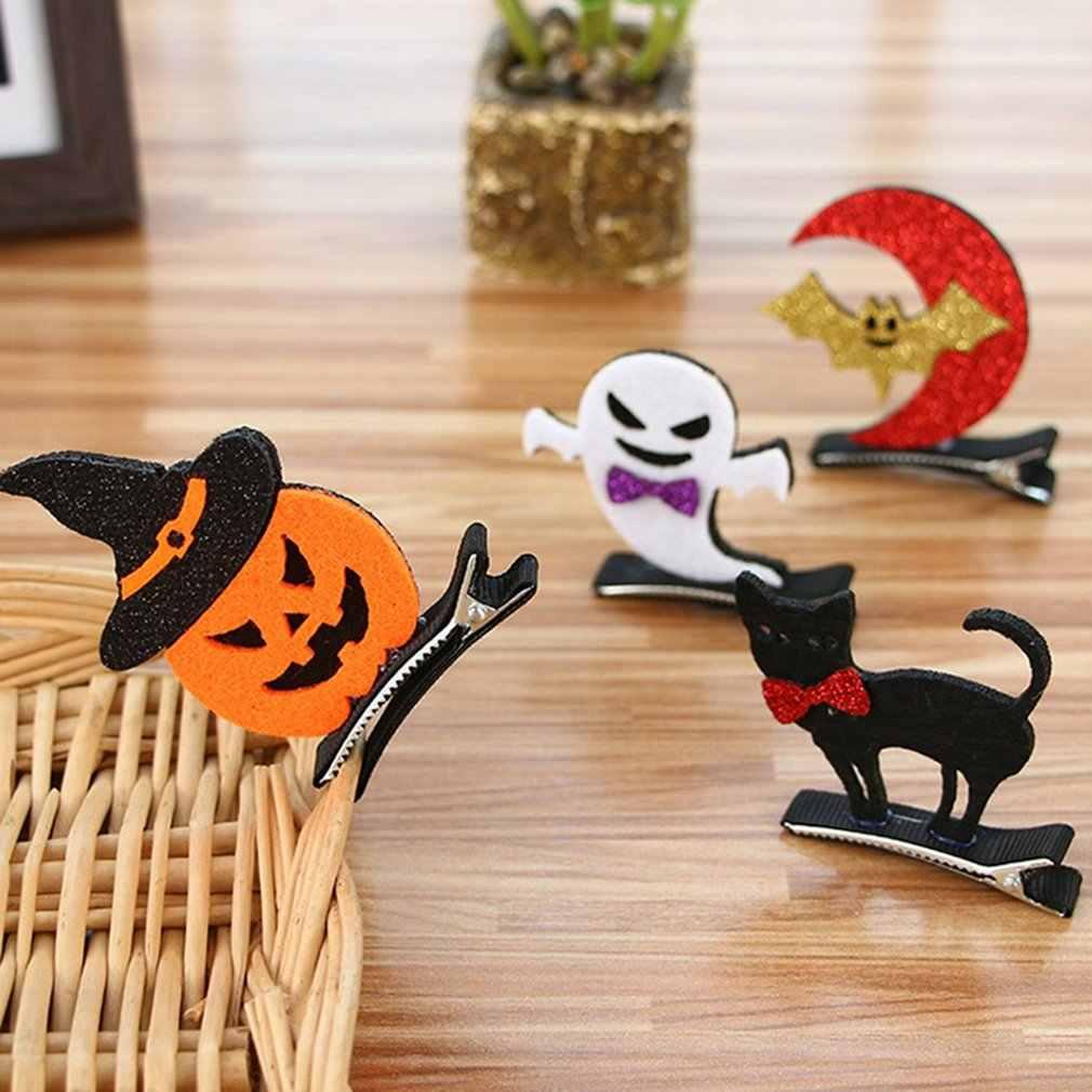 Halloween Anak-anak Jepit Rambut Labu Kelelawar Lucu Bayi Jepit Rambut Halloween Bola Berdandan Stereo Klip Rambut