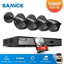 Sannce 1080 1080p cctvシステム4CHビデオ監視キットホーム1080P N hdmi dvr 4個1280TVL 1080 1080p屋外セキュリティカメラ1テラバイト