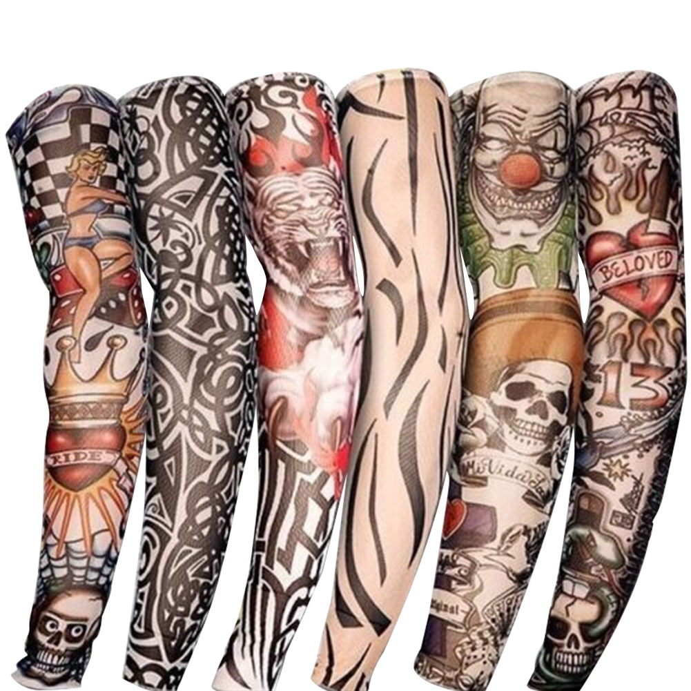 2 Pcs New Nylon Elastic Fake Temporary Tattoo Sleeve Designs Body Arm Stockings Tattoos For Cool Men Women NIN668