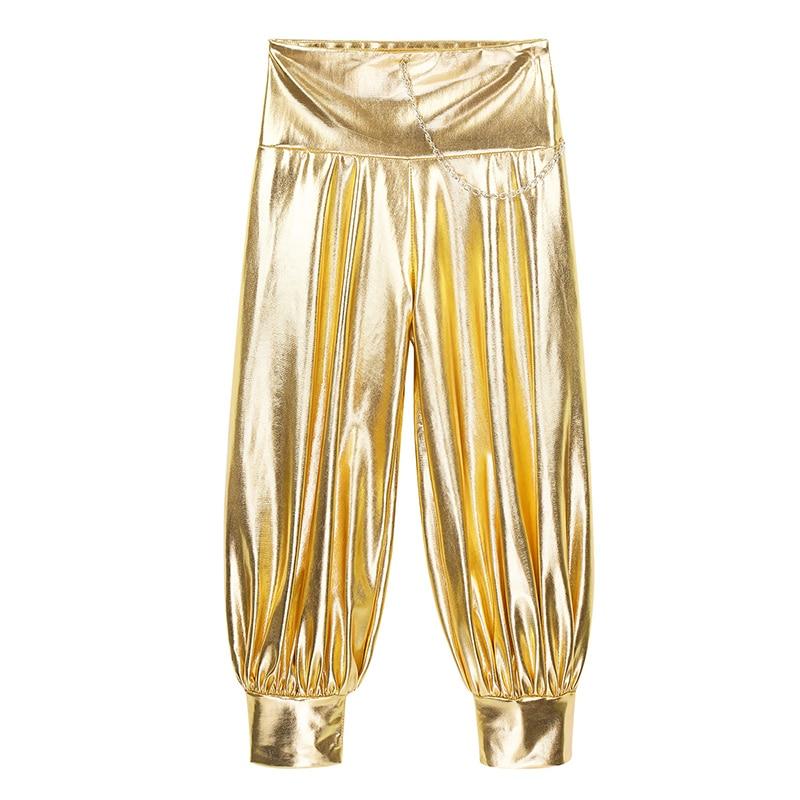 TiaoBug Kids Girls Shiny Metallic Harem Dance Pants Trousers Jazz Hip Hop Streetwear Dancewear