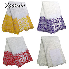 High quality african flower lace fabric Embroidered 5 yards lace fabric sewing DIY trim Ribbon guipure dress craft accessory high quality african flower lace fabric embroidered lace fabric sewing diy craft trim ribbon dress guipure accessory 1 yard