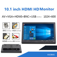 10.1 Inch HD LCD Monitor IPS Screen Support HDMI VGA AV BNC Best for Home, Office, Vehicle