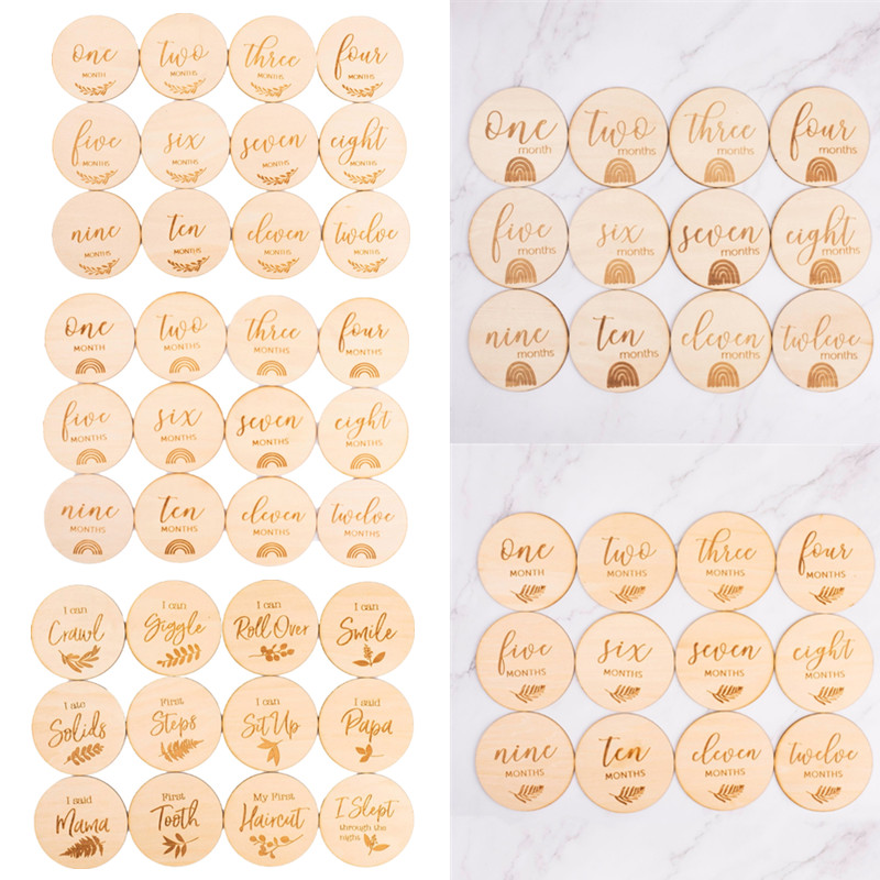 12 Pcs Wooden Baby Milestone Cards Commemorate Baby Birth Monthly Recording Cards Newborn Infant Shower Gifts Photography Props Hand Footprint Makers Aliexpress