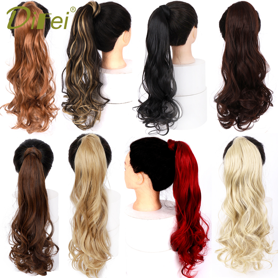 DIFEI Long Wavy Natural Ponytail Clip In Pony Tail Hair Extensions Wrap Around On Synthetic Hair Piece For Women