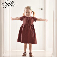 ZAFILLE Soft Cotton Summer Dress Solid Baby Girl Clothes Short Sleeve Girl Dress Cute Toddler Baby Clothing Kids Girls Clothes zafille summer dress girl short sleeve baby girl clothes dot printed girls dress toddler infant baby clothing kids cute dresses