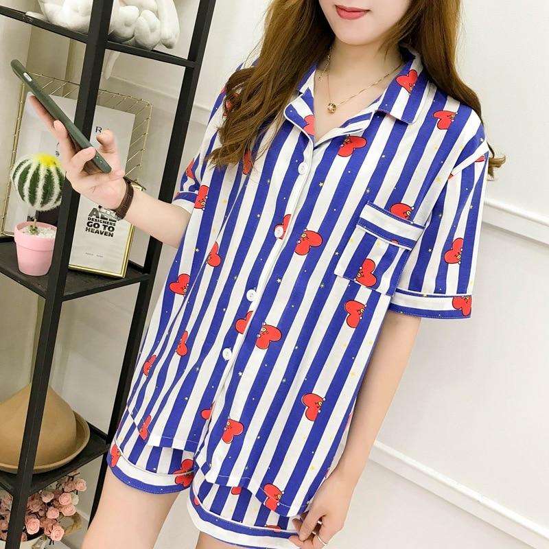 Spring Summer Women Pajamas Set Harajuku Women's Clothing Pyjamas Suit Female Pink Stripe Rabbit Heart Casual Sleepwear