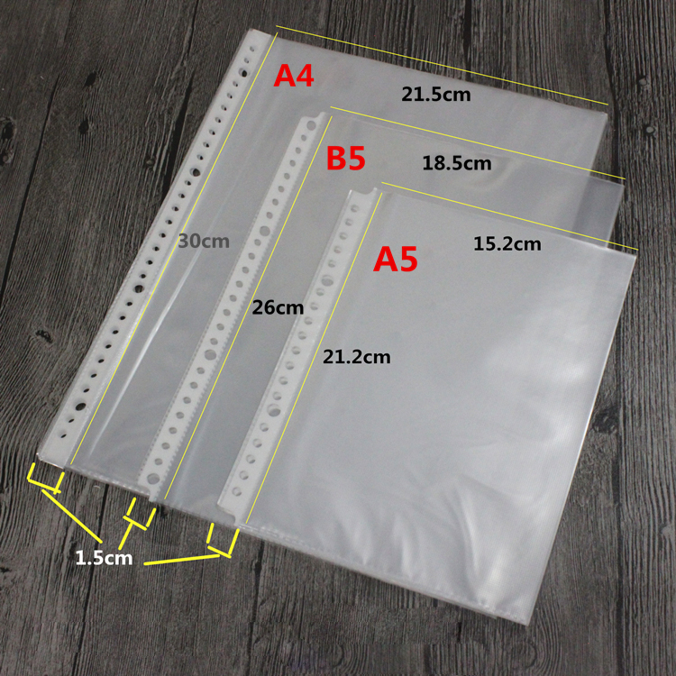 30 26 20 Holes Plastic Pockets, A4 B5 A5 Plastic Transparent Sleeves 100sheets