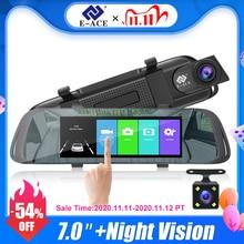 E ACE جهاز تسجيل فيديو رقمي للسيارات 7.0 بوصة تعمل باللمس مسجل فيديو كاميرا مرآة FHD 1080P عدسة مزدوجة مع كاميرا الرؤية الخلفية السيارات مسجل داش كام