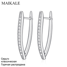 MAIKALE New Fashion Hot Luxury V Shape Gold /Silver Plated Cubic Zirconia Stud Earrings For Women Jewelry Gift Brincos Bijoux