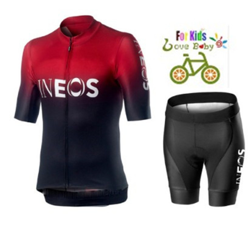 2019 Breathable ineos Kids Cycling Jersey Set Shorts Children Bike Clothing Boys Girls Summer Bicycle Wear