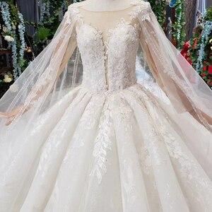 Image 5 - BGW HT4237 Ball Gown Wedding Dresses With Cape O Neck Zipper Back Applique Long Sleeves Lace Wedding Gowns 2020 Vestido De Noiva