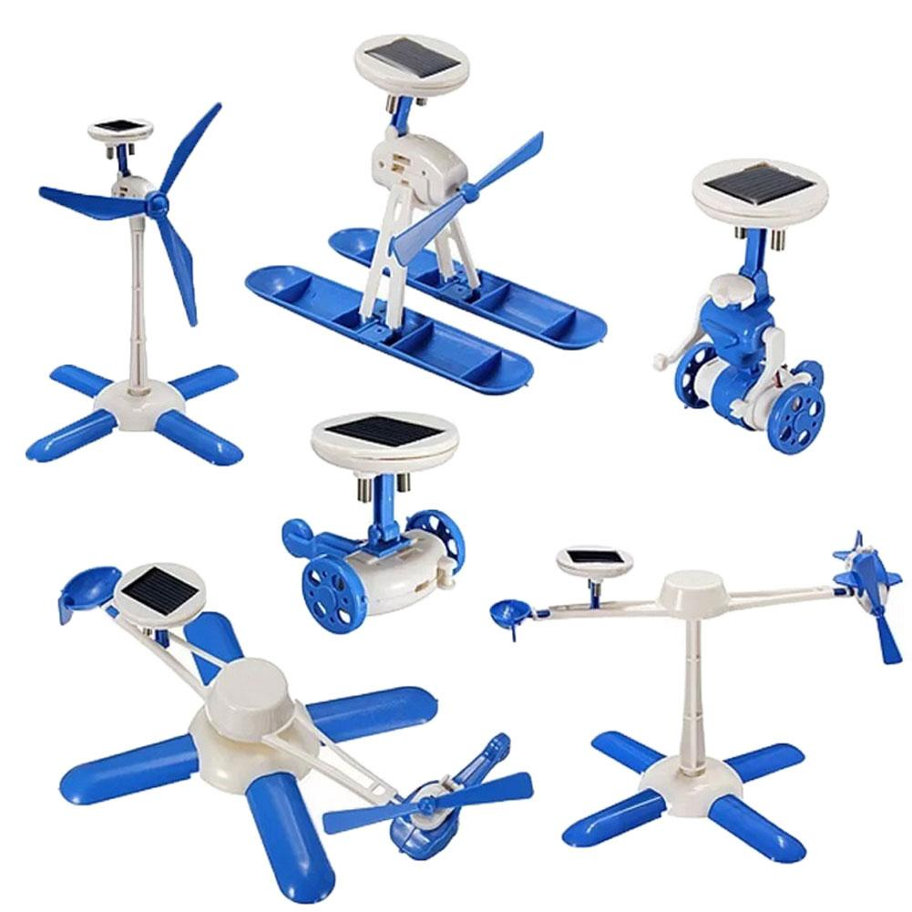 6 In 1 DIY Assembly Solar Power Educational Learning Robot Kit Children Kids Toy New