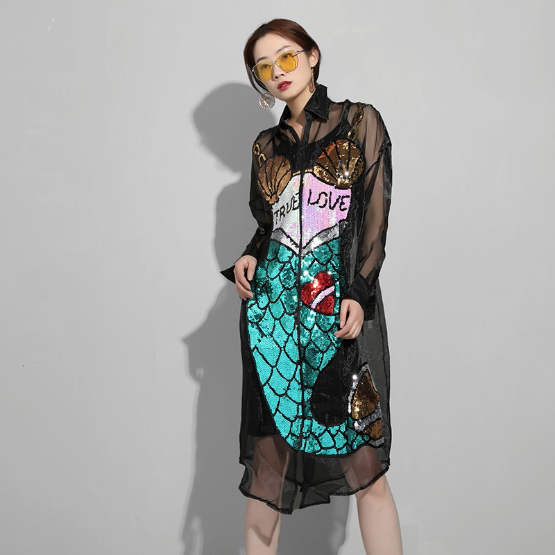 New Fashion Style Blue Sequins Organza Smith Perspective Big Size Dress Fashion Nova Clothing