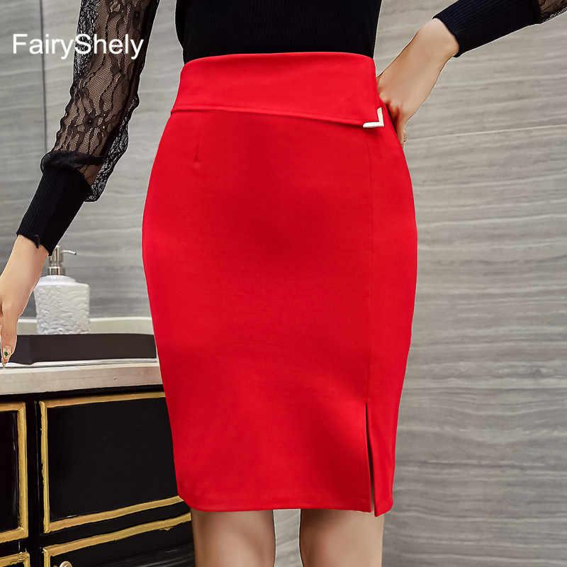 2019 Новый Для женщин Вечернее Повседневная обувь юбки женские пикантные Высокая Талия выше колена юбка-карандаш красные, черные Стретч посылка хип размера плюс 5XL