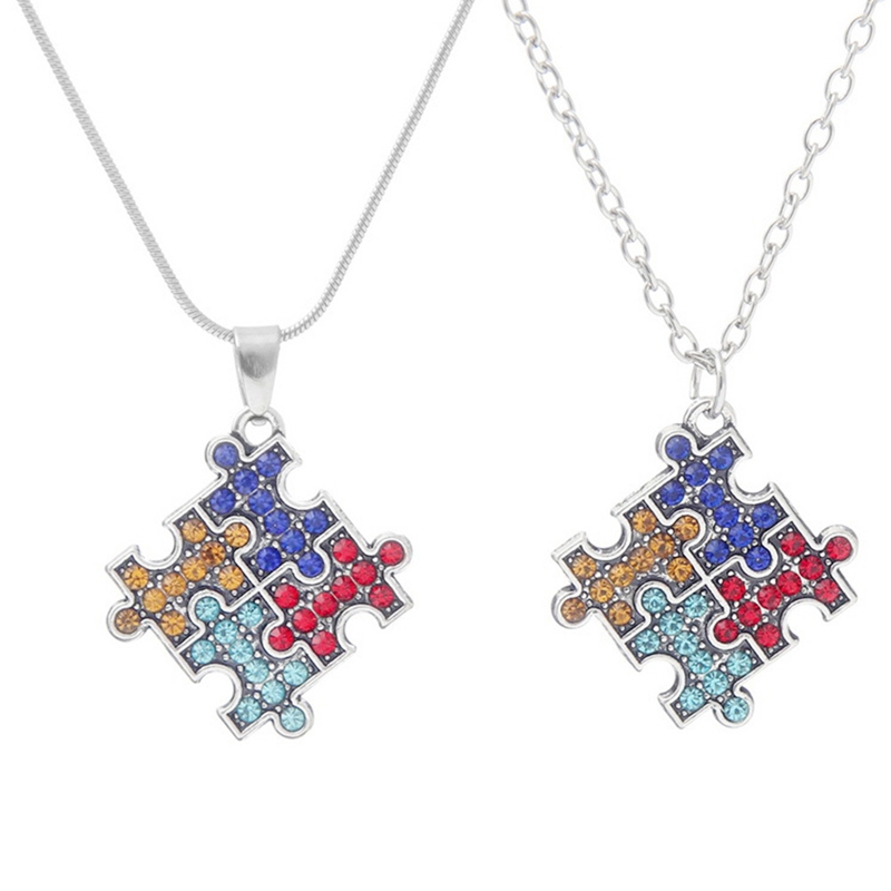 Fun Puzzle Piece Necklace Jigsaw Necklace Love Best Friends Family Everyday Unisex Gift Colorful Autism Awareness Necklaces