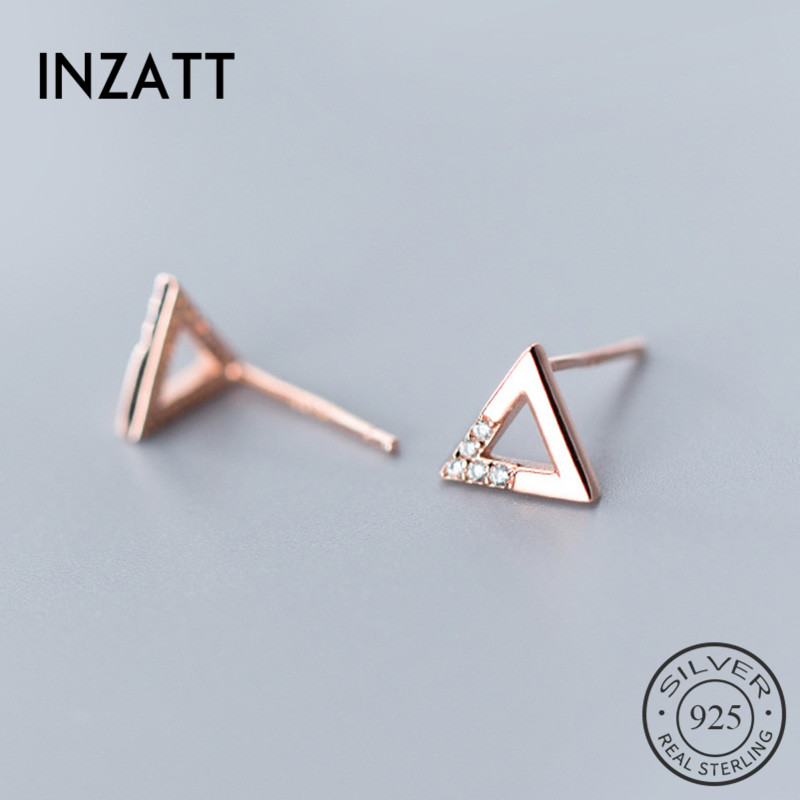 INZATT Real 925 Sterling Silver Triangle Stud Earring For Fashion Women Party Cute Fine Jewelry MInimalist Accessories Gift