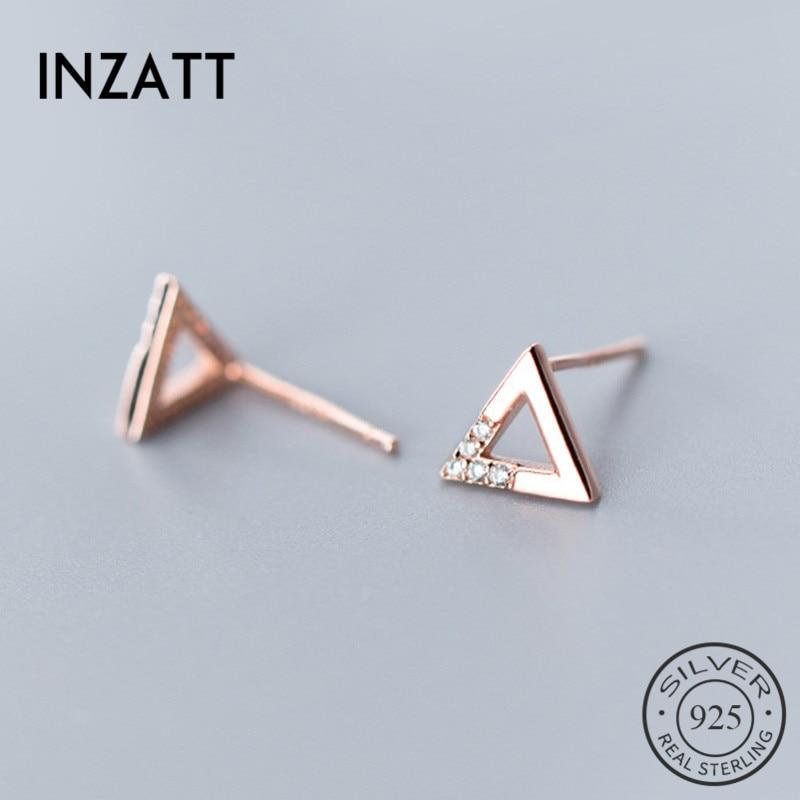 INZATT Real 925 Sterling Silver Triangle Stud Earring For Fashion Women Party Cute Fine Jewelry MInimalist Accessories Gift