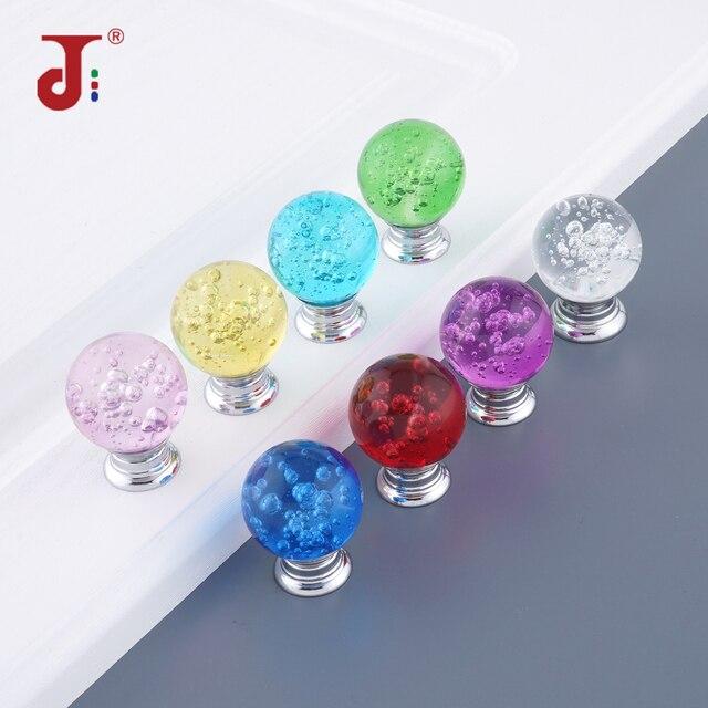 Tirador de mueble con bola de burbuja de cristal de un solo orificio, tiradores de tocador, tirador de cristal para muebles