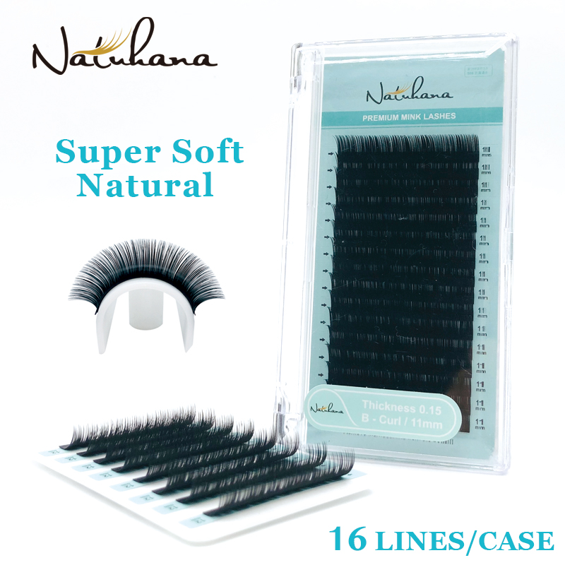 NATUHANA 16Rows B C D Curl China Premium Individual Artificial False Lashes Natural Mink Eyelashes Silk Fake Eye Lash Extension