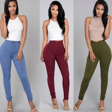 Womens Skinny Slim Fit Denim Jeans Casual Solid Color Pants Trouser KNG88