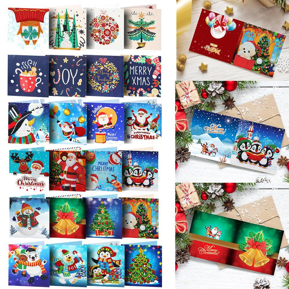 8 pces conjunto decoração de natal cartão diy especial-em forma de diamante pintura natal cartões postais presente navidad