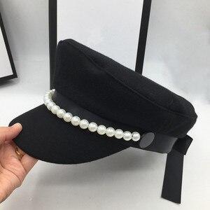 Image 1 - על אינטרנט סלבריטאים סגנון צמר חיל הים כובע פופולרי פרל קישוט אלגנטי אופנה כובע bowknot הוא אור קישוט Visors
