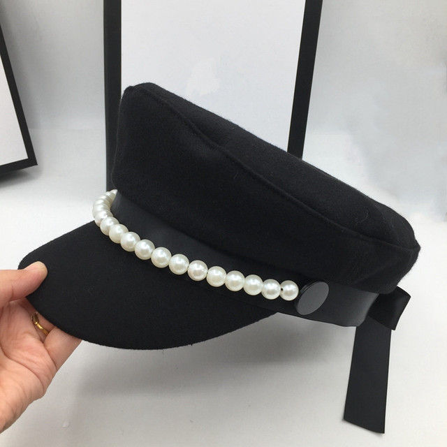 על אינטרנט סלבריטאים סגנון צמר חיל הים כובע פופולרי פרל קישוט אלגנטי אופנה כובע bowknot הוא אור קישוט Visors