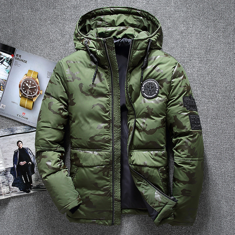 2020 Men Winter Feather Jacket Men's Hooded Camouflage Parka Jackets White Mens Thick Jacket Ultralight Down Jacket Male Coat