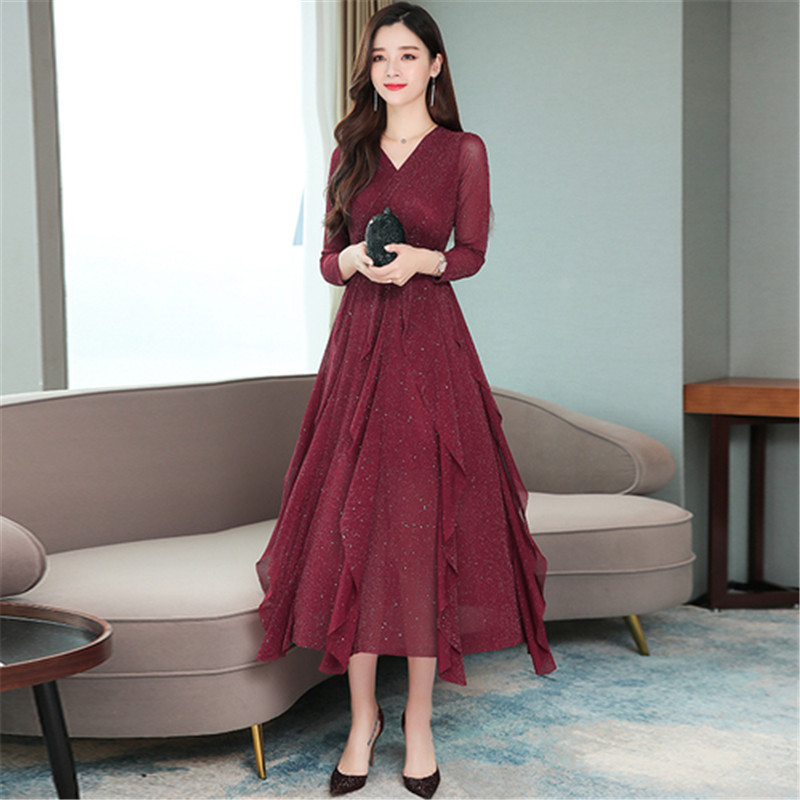 Casual Dress Female Spring And Autumn New V-neck Stitching Solid Color Stretch In The Long Paragraph Slim Temperament Dress