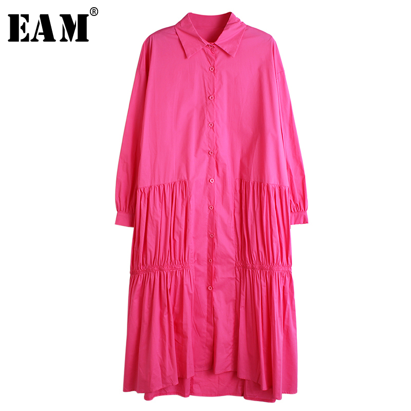 [EAM] Women Side Pleated Drawstring Big Size Shirt Dress New Lapel Long Sleeve Loose Fit Fashion Tide Spring Autumn 2020 1R525