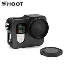 SCHIETEN Aluminium Frame Case Behuizing Case Kooi voor GoPro Hero 4 Zwart Zilver Met UV Filter Lens Cap Behuizing Case camera Accessoire