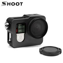 SHOOT carcasa de Marco funda de aluminio jaula para GoPro Hero 4 negro plata con lente con filtro ultravioleta Cap funda carcasa accesorio de cámara