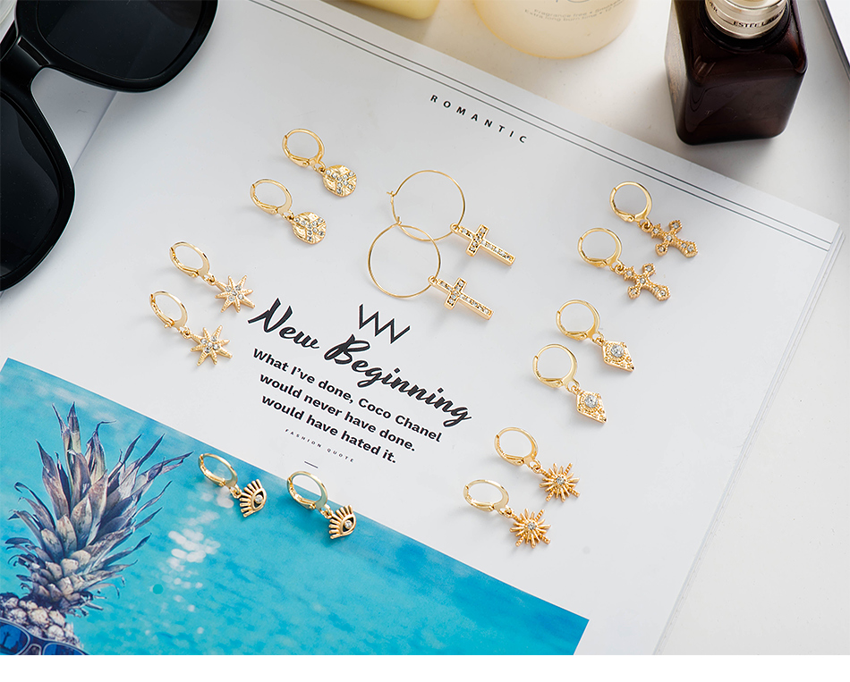 Дикие и свободные серьги-кольца в форме звезды для женщин, золотые медали, крест, маленькие глаза, крошечные обручи Huggie, серьги, стразы, минималистичное ювелирное изделие